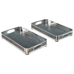 Pair of Nickel-Plated Serving Trays