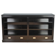 Bespoke Black Lacquer Open Bookcase with Two Military Style Drawers