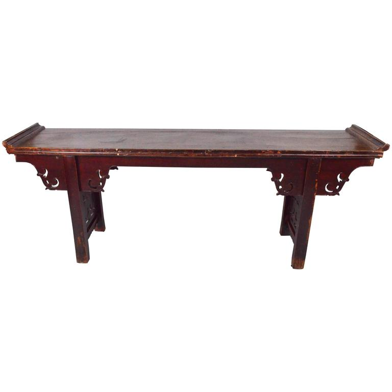 1950s Chinese Homu Wood Red original Lacquer Console Table