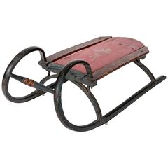 19th Century Ram Horn Childs Sled in Original Red Paint