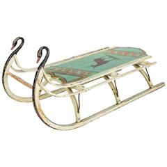 """19th Century Wooden Sled with Original Paint """"Deer"""" and Iron Swan Runners"""