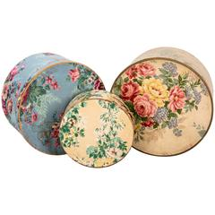 Antique Wallpaper Covered Band Boxes