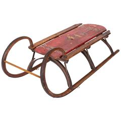 """19th-Century Bentwood and Iron """"Rams Horn"""" Sled"""