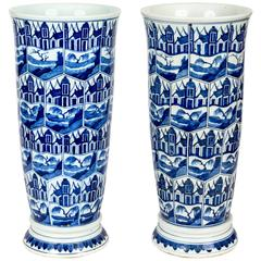 Pair of Blue and White Delft-Style Chinese Umbrella Stand