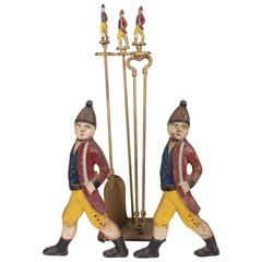 Set of Hessian Soldier Andirons with Matching Fire Tools and Stand