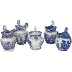 Set of Five Staffordshire Jugs