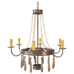 Iron Chandelier with Vintage Glass Beads and Wood Drops