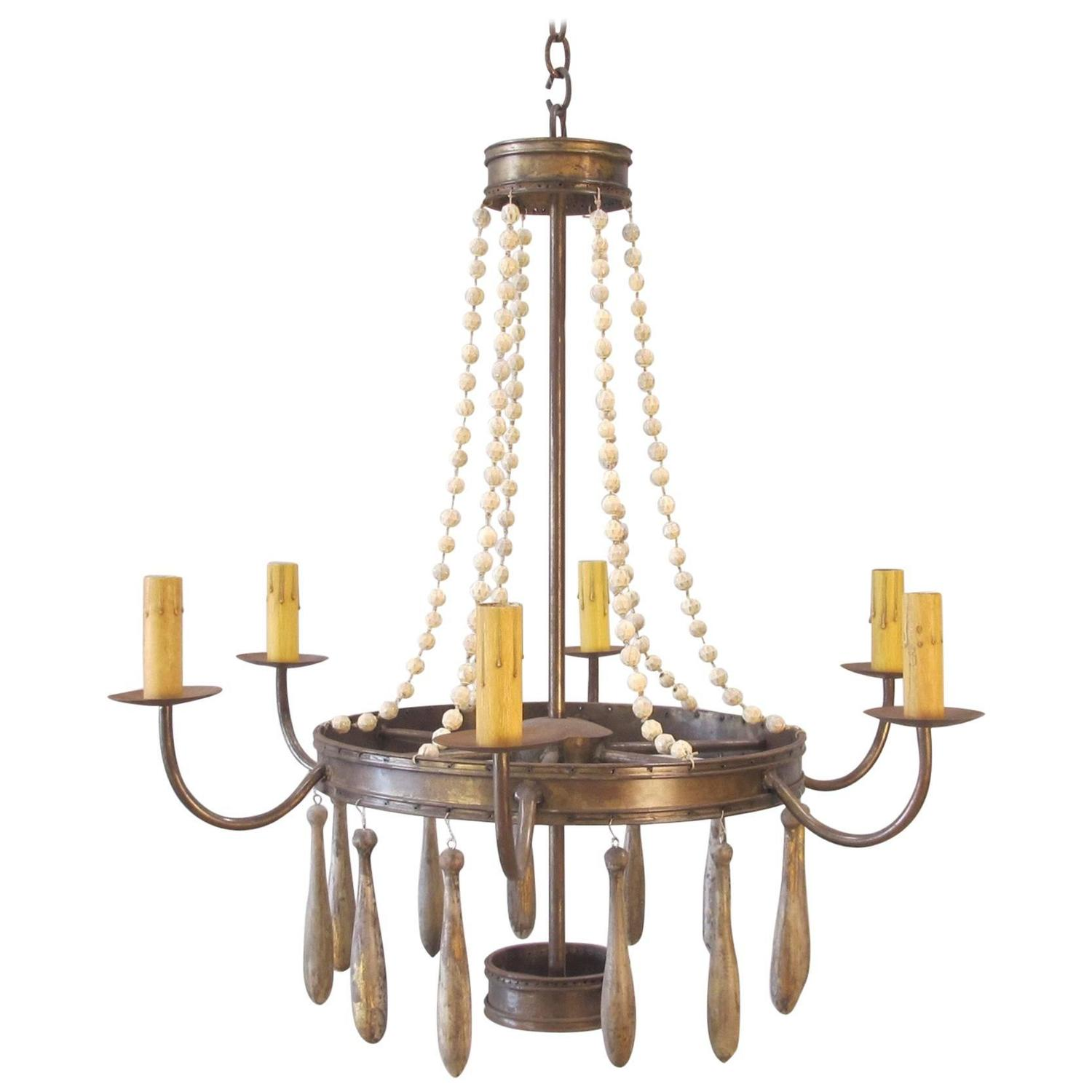 Iron Chandelier with Vintage Glass Beads and Wood Drops ...