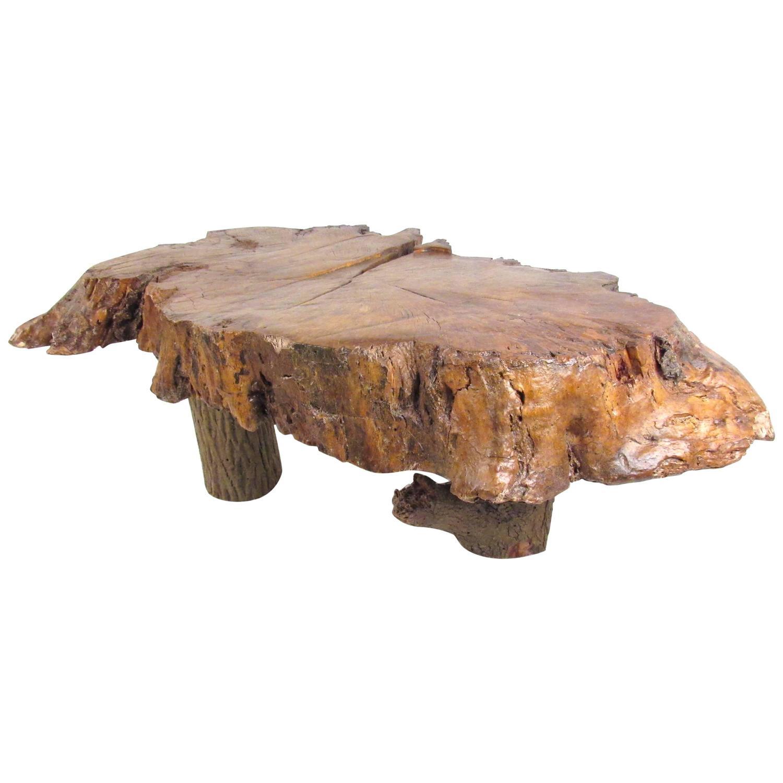Vintage Burl Wood Slab Coffee Table At 1stdibs: Vintage Rustic Free Edge Coffee Table, Natural Wood Slab