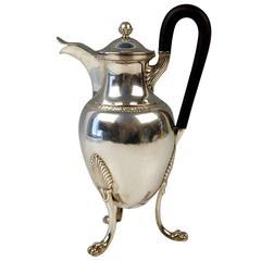 Silver Empire Chocolate Coffee Pot with Handle by F.Hellmayer Vienna, circa 1809