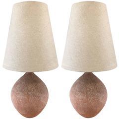 Pair of Textured Ceramic Lamps