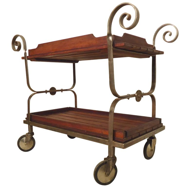 Rolling Metal and Wood Cart