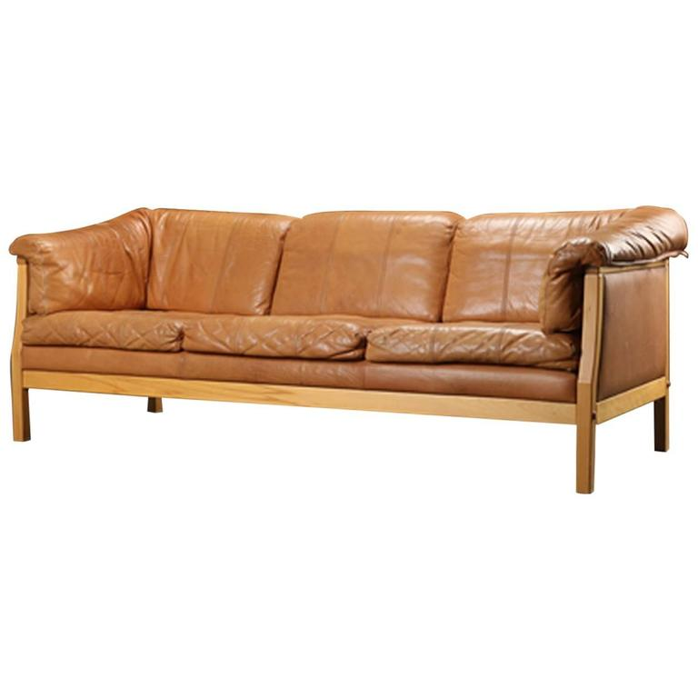 Danish Modern Caramel Leather Sofa At 1stdibs