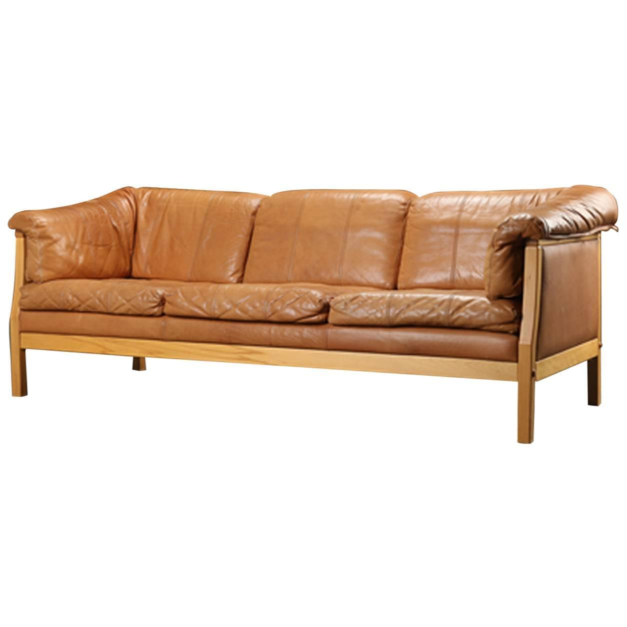 danish modern caramel leather sofa at 1stdibs