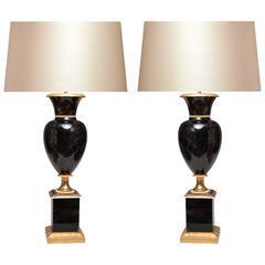 Pair of Ormolu-Mounted Dark Brown Rock Crystal Quartz Lamps