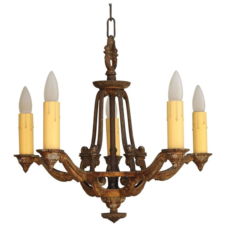 1920s Spanish Revival Chandelier With Five Lights For Sale