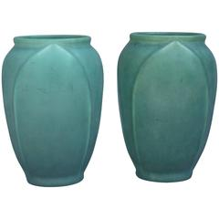 Pair of Matte Green Rookwood Vases