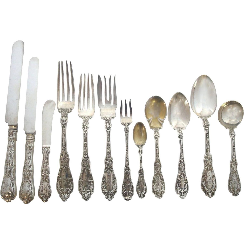 paris by gorham sterling silver flatware set art nouveau cherubs - Sterling Silver Flatware