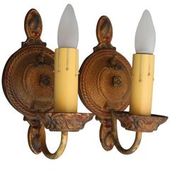 Pair of 1920s Sconces with Circular Backplate with Polychrome Finish