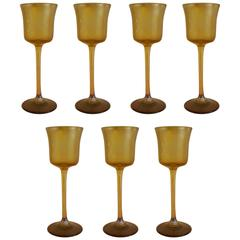 Tiffany Favrille Set of Seven Liquer/Cordial Stemmed Glasses