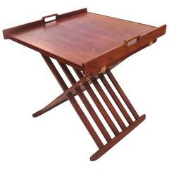 1950s American Modern Mid-Century Campaign Style Walnut Folding Table