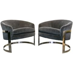 Milo Baughman Chrome Cantilevered Chairs in Charcoal Gray Mohair