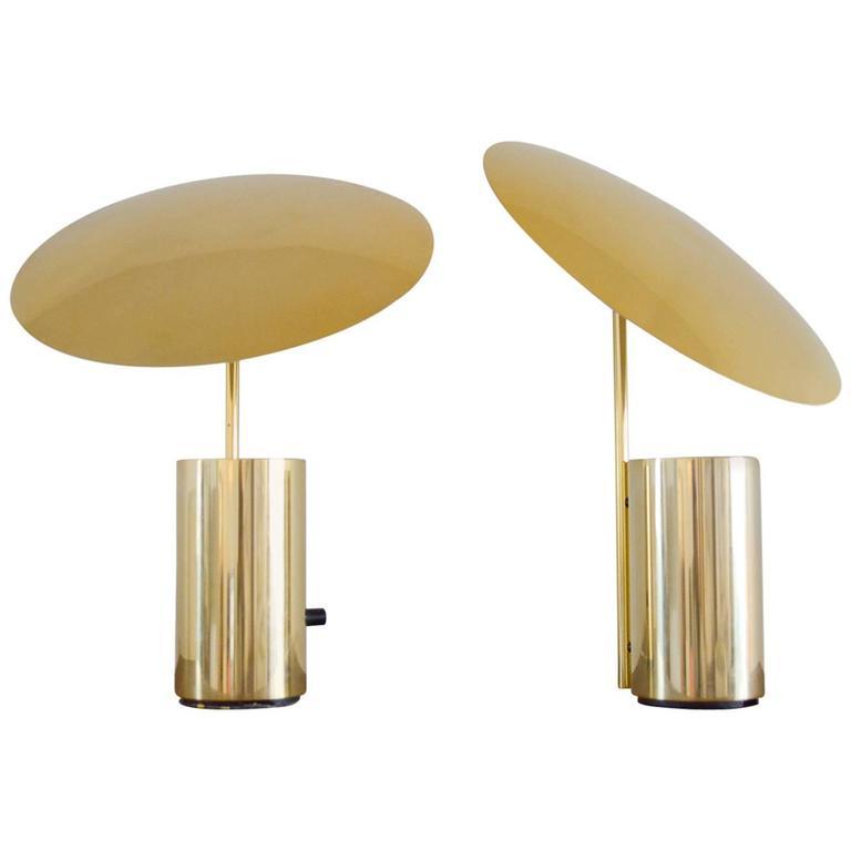 Rare pair of brass george nelson 39 half nelson 39 table lamps for Half nelson table lamp