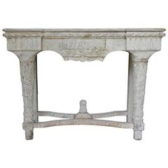 French Antique Carved Console Table in Original Paint, 19th Century, Louis XVI
