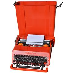 "Red Olivetti ""Valentine"" Typewriter and Case by Ettore Sottsass"