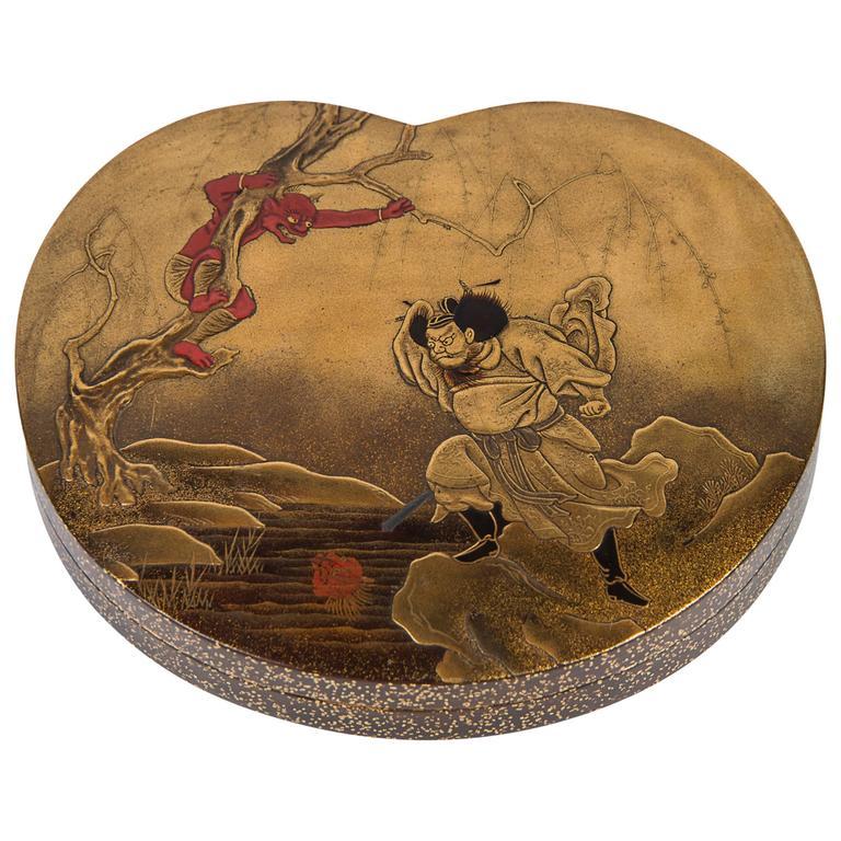 Edo Japanese Lacquer Kobako Box Shoki and Oni