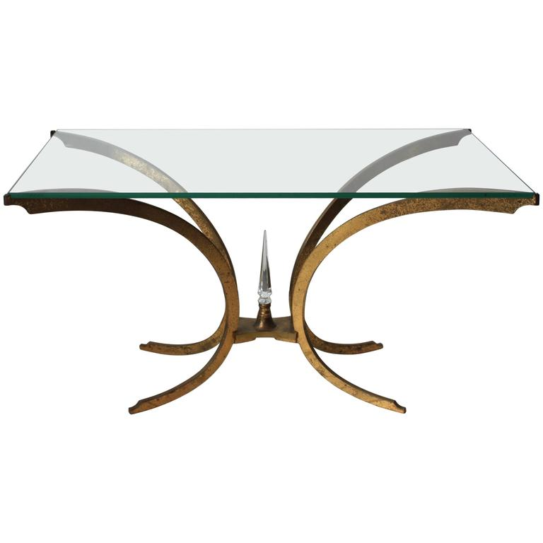 Brass and Glass Coffee Table from 1950s