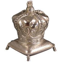 Edward VII Novelty Silver Coronation Crown Inkwell