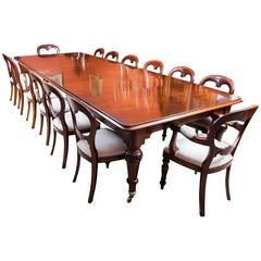 Antique Victorian Dining Table and 14 chairs, circa 1850