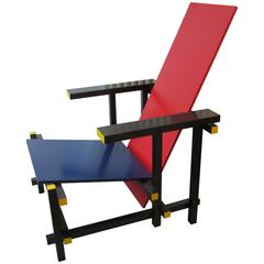 Red and Blue Lounge Chair by Gerrit Rietveld Cassina