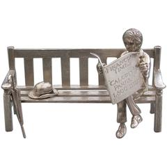 "Modern Silver Model Gentleman Sitting on a Bench ""Calcutts Panel, 1800 Bids"""