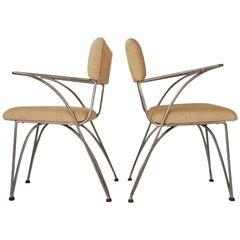Pair of Modernist Chairs in Aluminum and Bronze