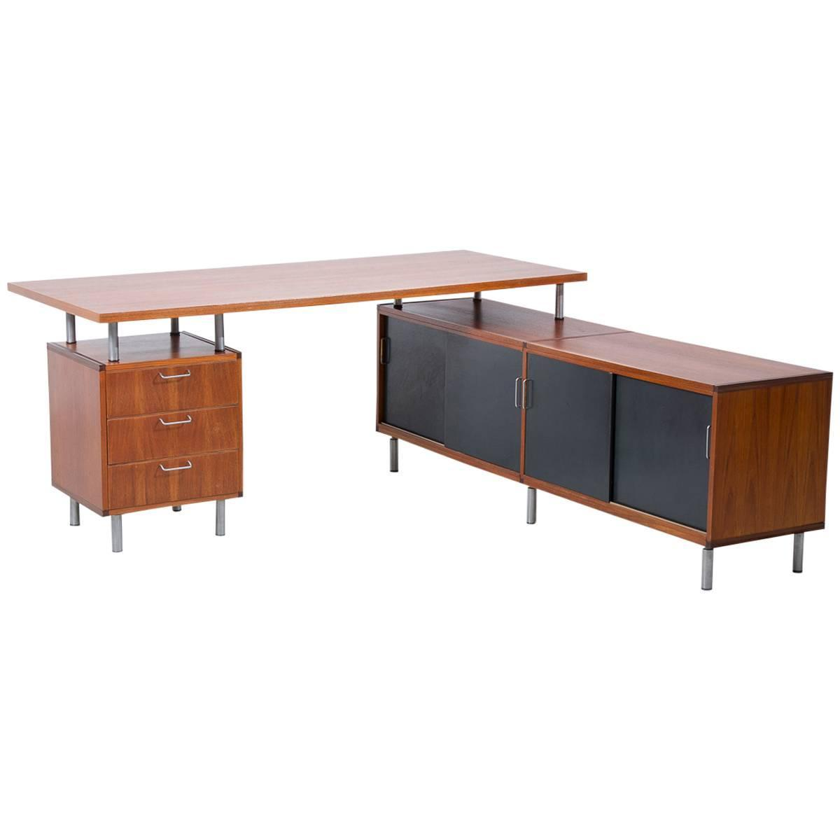 1950s Cees Braakman Pastoe L Shaped Executive Desk Netherlands For . Full resolution‎  picture, nominally Width 1200 Height 1200 pixels, picture with #7D4022.