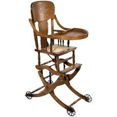 20th Century Golden Oak Convertible Highchair