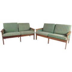 "Rare Mid-Century Modern ""Capella"" Settees by Illum Wikkelsø for N. Eilersen A/S"