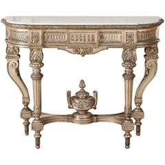 19th Century Louis XVI Grand Giltwood Marble-Top Console