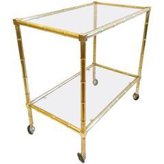 Bar Cart in Faux Bamboo Brass