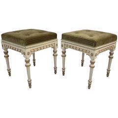 Set of Two Italian Small Pouffes and Bench, Napoleon III, Louis XVI Style