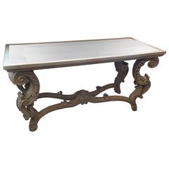 Oly Sophia Grey Carved Wood Console with Aged Mirror Top