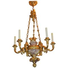 Wonderful Six-Light Doré Bronze Rouge Marble Neoclassical Urn Dasson Chandelier