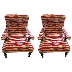 Fun Beachy Pair of Upholstered Club Chairs
