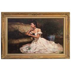 Breathtaking An He Original Oil Painting in Gilded Frame