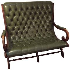 Antique English Dark Green Button Tufted Leather and Mahogany Loveseat