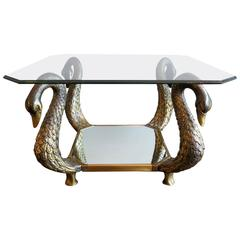 """Octagonal French Bronze """"Swan"""" Table"""