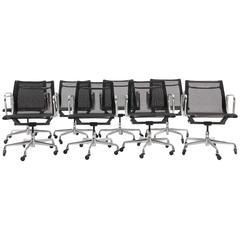 ONLY ONE LEFT!! Black Mesh Eames Aluminum Group dining / conference chairs.