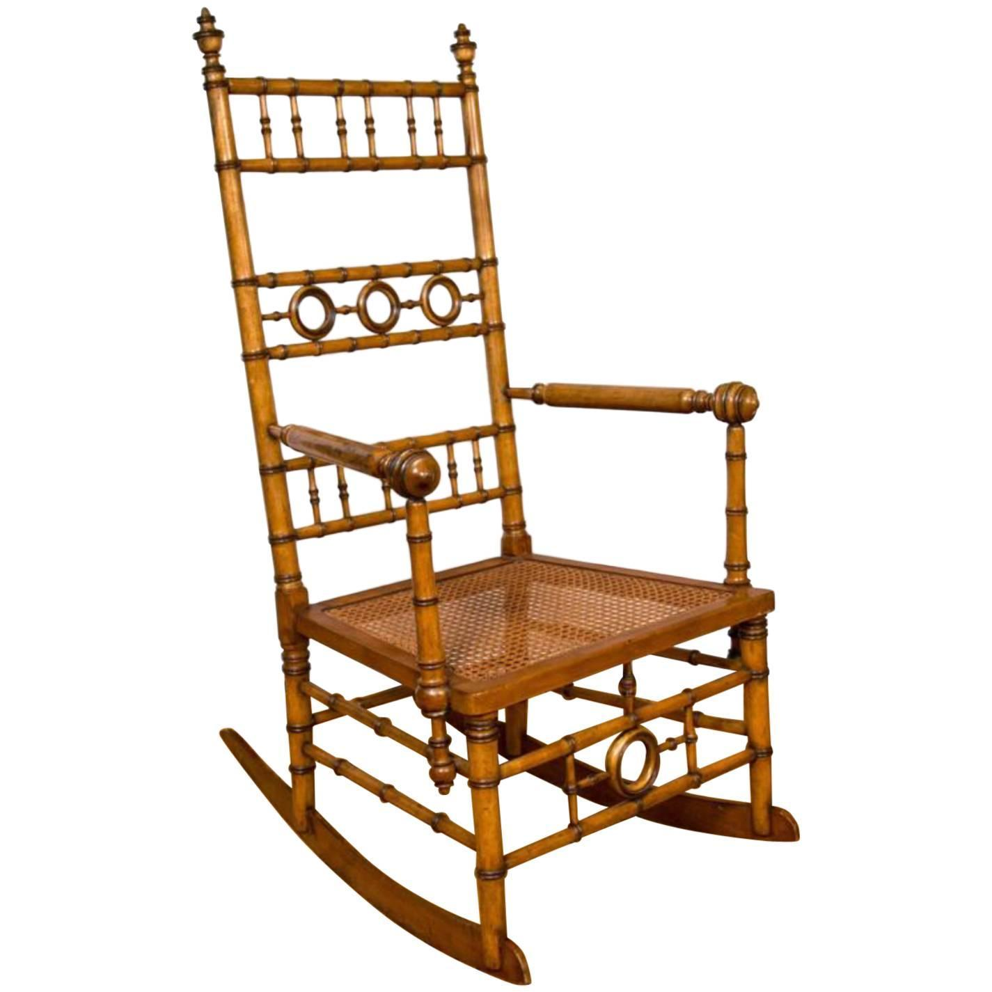 Victorian rocking chair - Aesthetic Movement Faux Bamboo Rocking Chair Attributed To R J Horner Amp